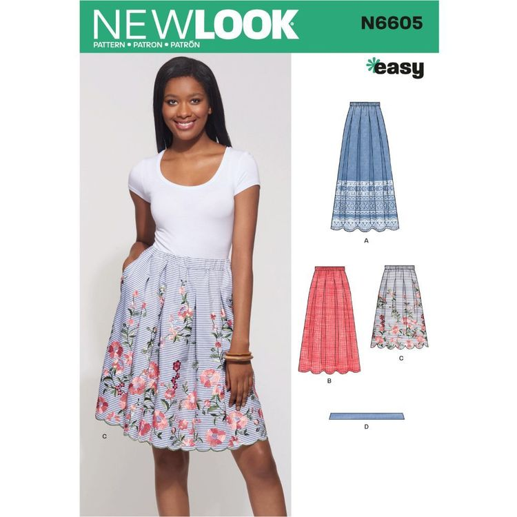 New Look Sewing Pattern N6605 Misses' Skirt with Neck Tie