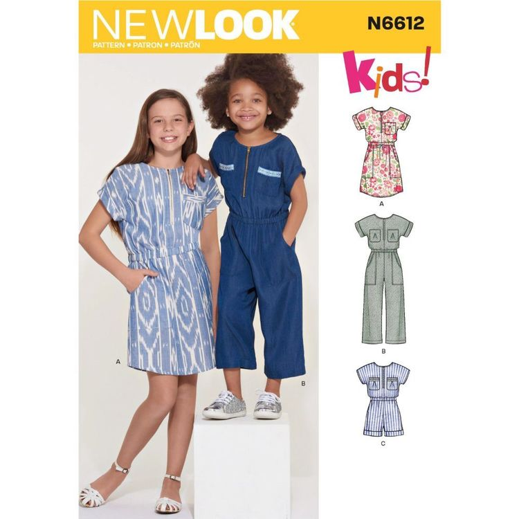 New Look Sewing Pattern N6612 Children's, Girls' Jumpsuit, Romper and Dress