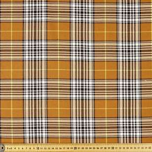Yarn Dyed Mustard Check 148 cm Poly Viscose Spandex Fabric