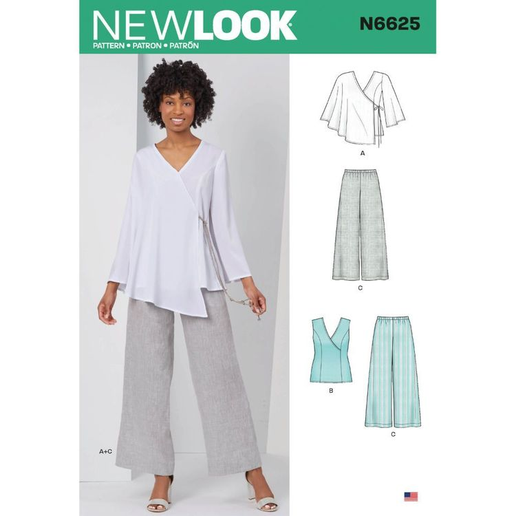 New Look Sewing Pattern N6625 Misses' Tops And Pull On Pants