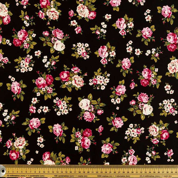 Cluster Printed Cotton Sateen Fabric Black 127 cm