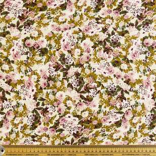 Antique Rose Printed Cotton Sateen Fabric