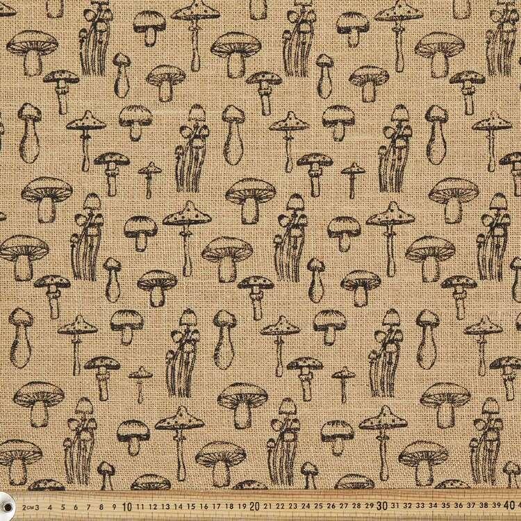 Mushroom Printed Hessian Fabric