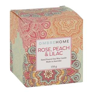 Ombre Home Boho Bloom Rose, Peach & Lilac Scented Candle