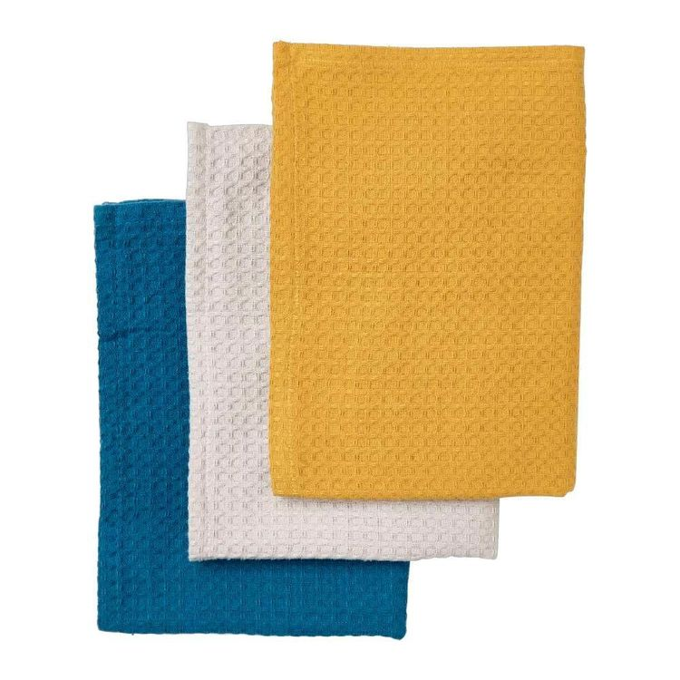 Kitchen By Ladelle Brynn 3 Pack Tea Towel Ochre, Teal & Stone 50 x 70 cm
