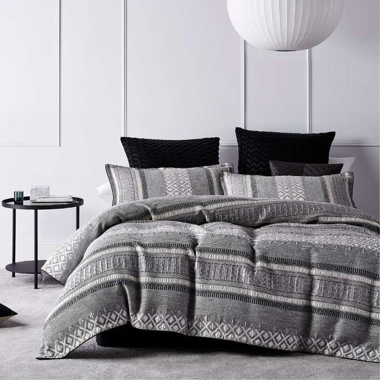 Platinum Tribeca Quilt Cover Set Steel