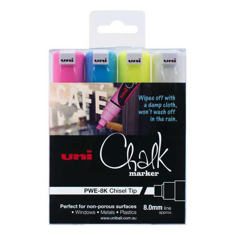 Uni-Ball Uni Liquid Chalk Marker Chisel Tip Pen 4 Pack