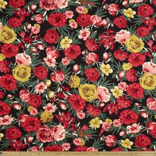 Antique Floral Printed 135 cm Rayon Fabric