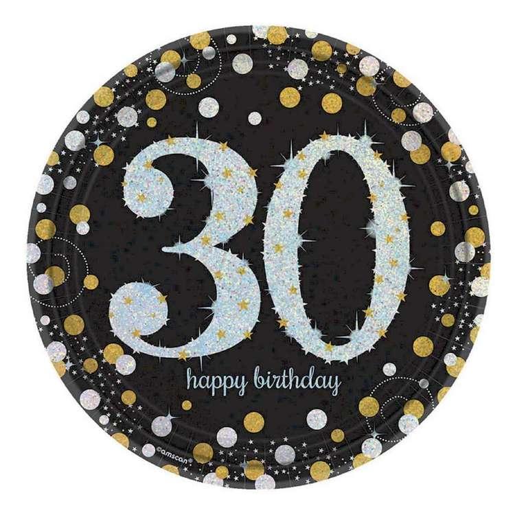 Amscan Sparkling Celebration 30th Birthday Prismatic Plates 8 Pack