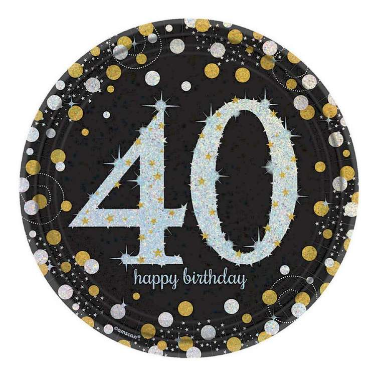 Amscan Sparkling Celebration 40th Birthday Prismatic Plates 8 Pack
