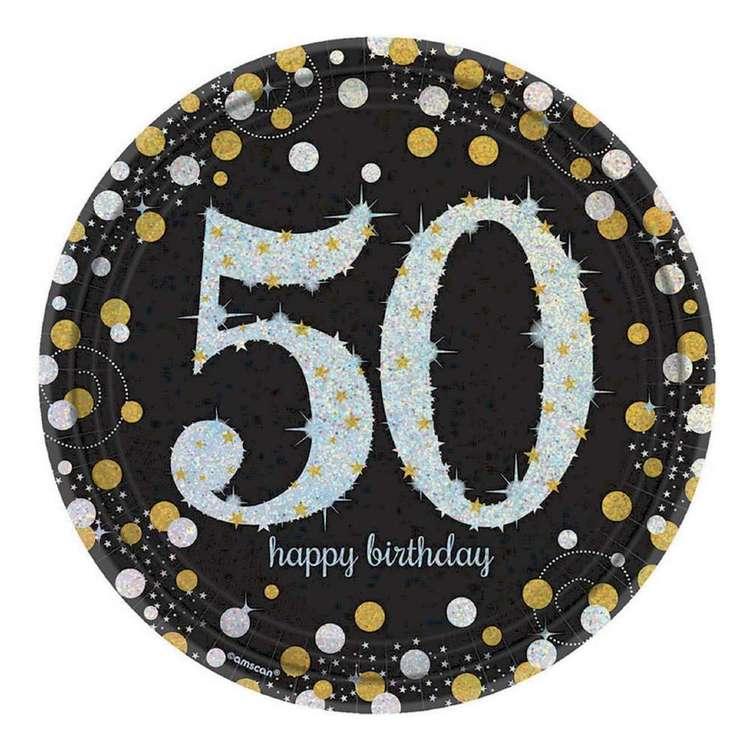 Amscan Sparkling Celebration 50th Birthday Prismatic Plates 8 Pack