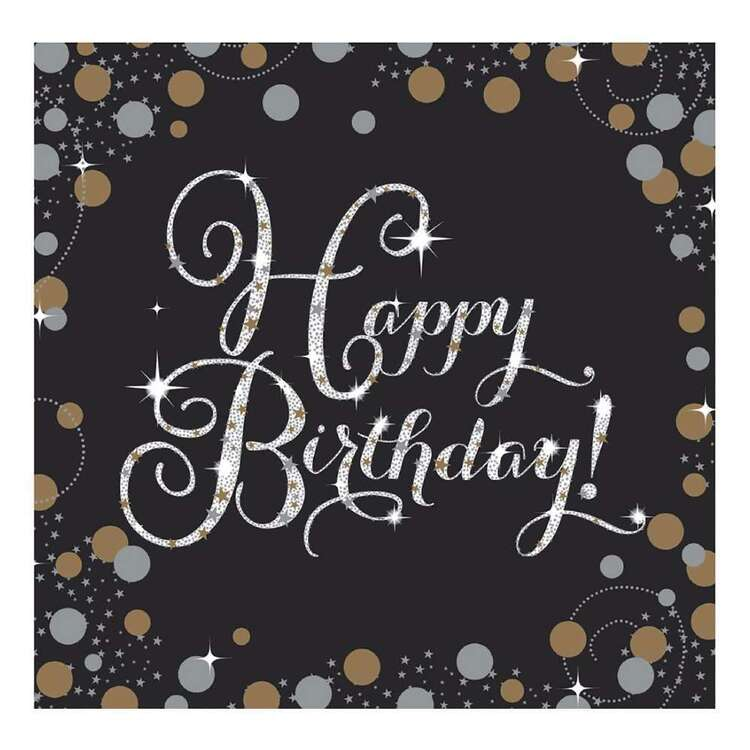 Amscan Sparkling Celebration Happy Birthday Lunch Napkins 16 Pack