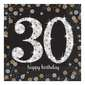 Amscan Sparkling Celebration 30th Birthday Lunch Napkins 16 Pack Multicoloured
