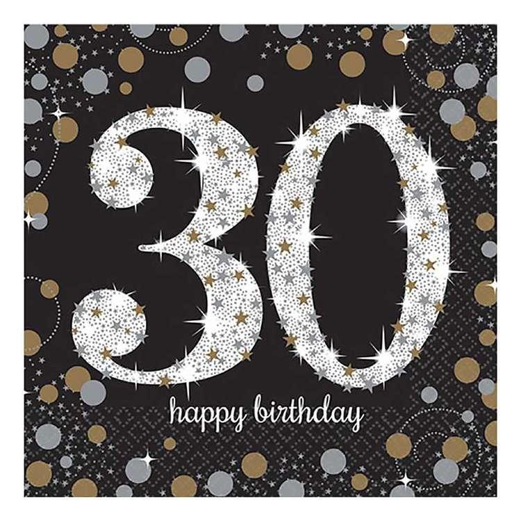 Amscan Sparkling Celebration 30th Birthday Lunch Napkins 16 Pack