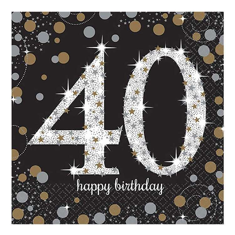 Amscan Sparkling Celebration 40th Birthday Lunch Napkins 16 Pack