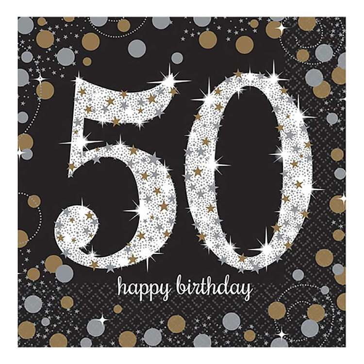 Amscan Sparkling Celebration 50th Birthday Lunch Napkins 16 Pack