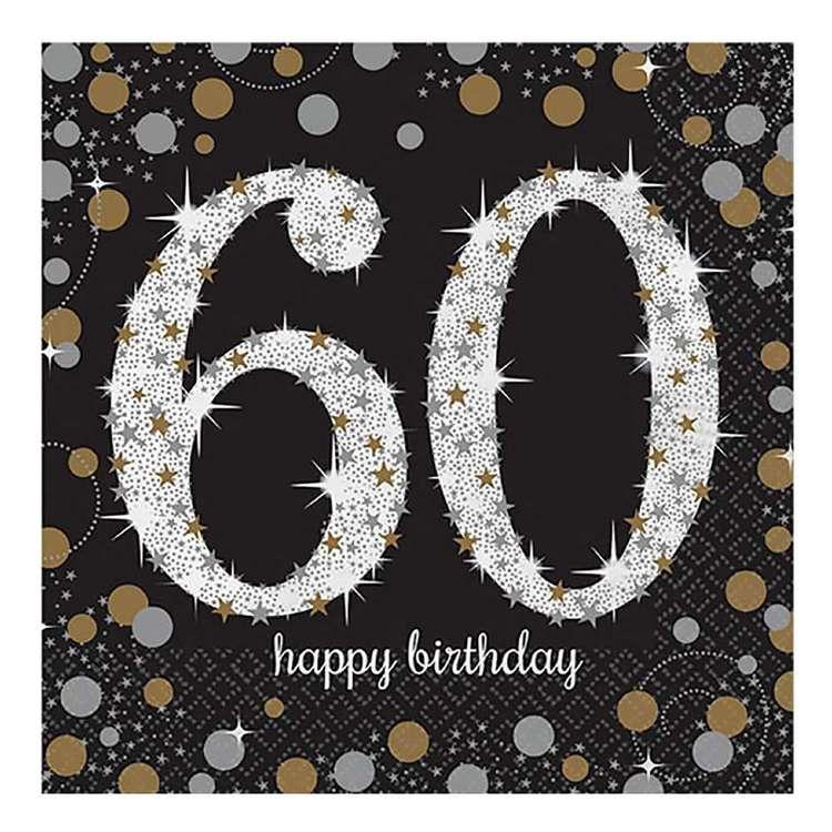 Amscan Sparkling Celebration 60th Birthday Lunch Napkins 16 Pack
