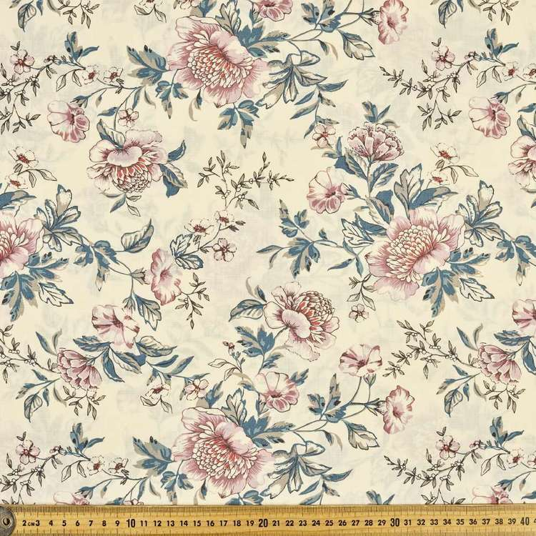 Big Flower Printed 112 cm Country Garden TC Fabric