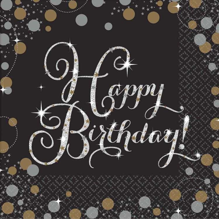 Amscan Sparkling Celebration Happy Birthday Beverage Napkins 16 Pack