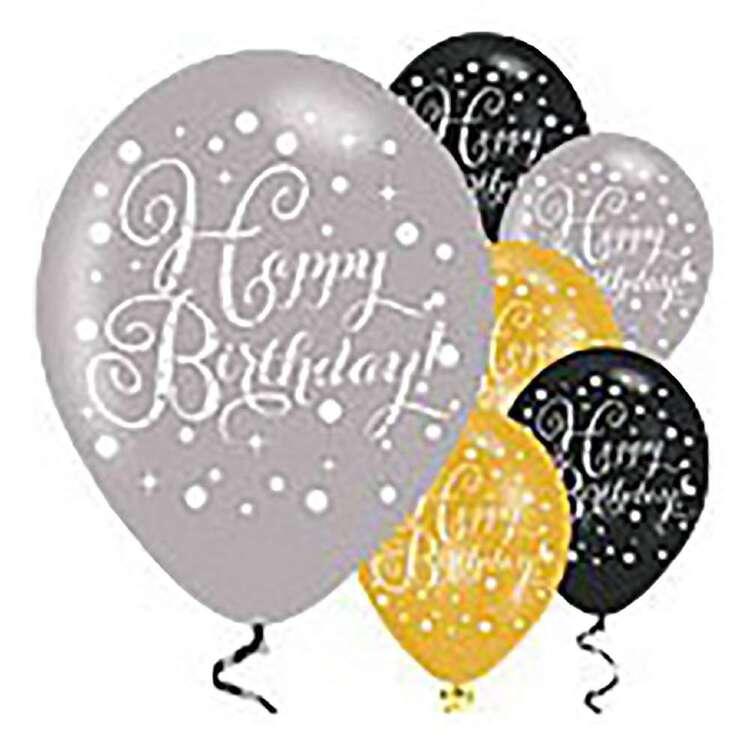 Amscan Sparkling Celebration Happy Birthday Latex Balloons 6 Pack