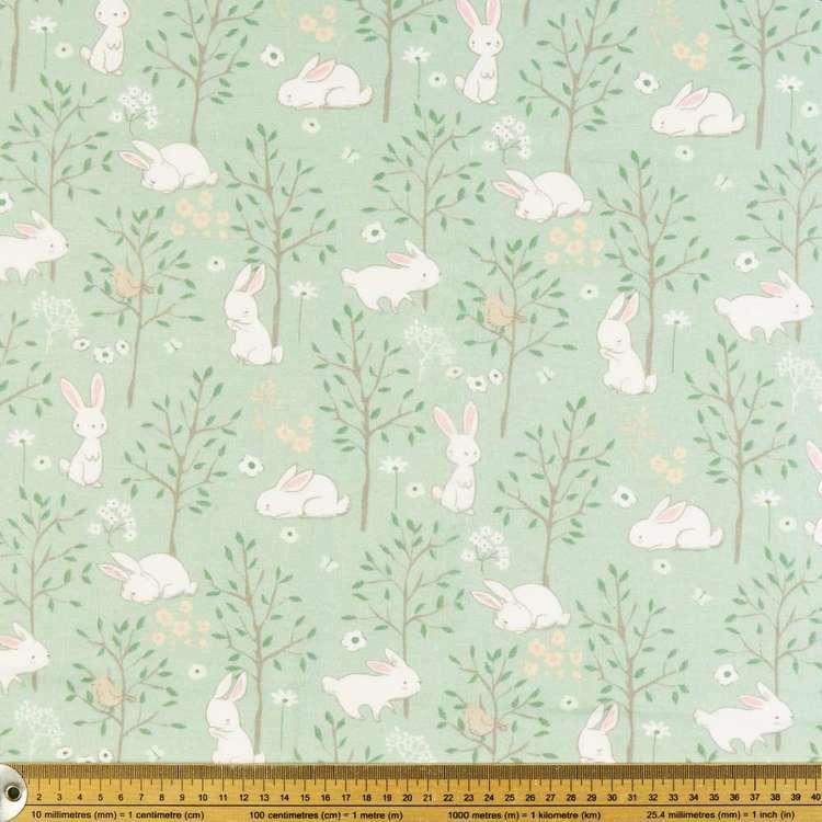 Floppy Garden Bunny Printed 112 cm Flannelette Fabric