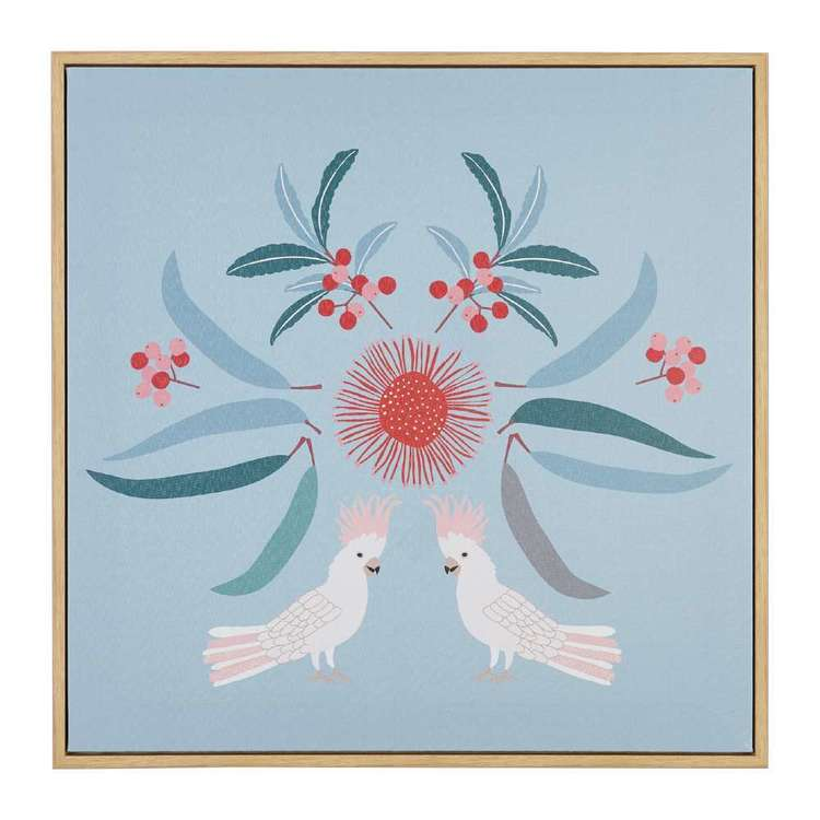 Koo Jocelyn Proust Cockatoo Luxe Framed Art Blue & Green 50 x 50 cm
