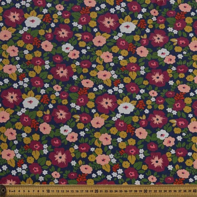 Sketch Floral Printed Cotton Spandex Fabric