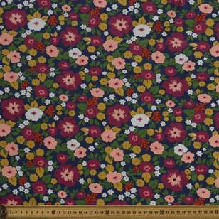 Sketch Floral Printed Cotton Spandex Fabric