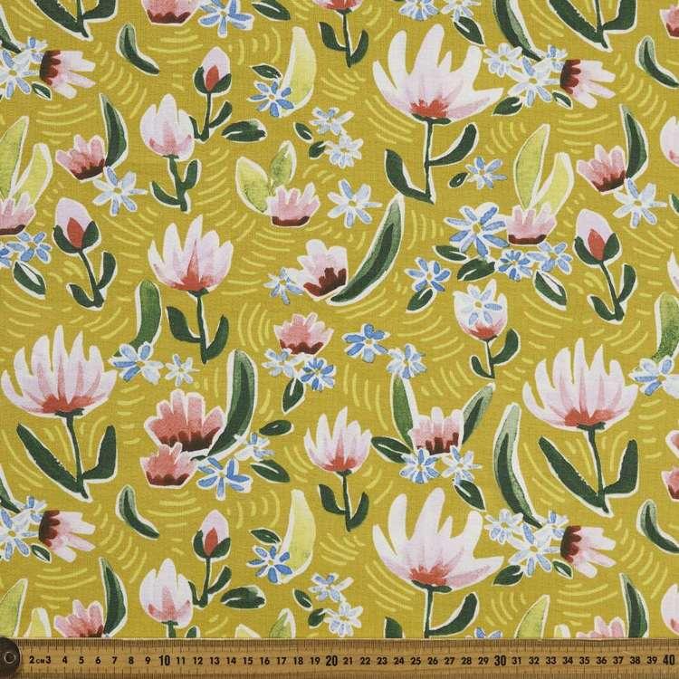 Magnolias Printed Cotton Spandex Fabric