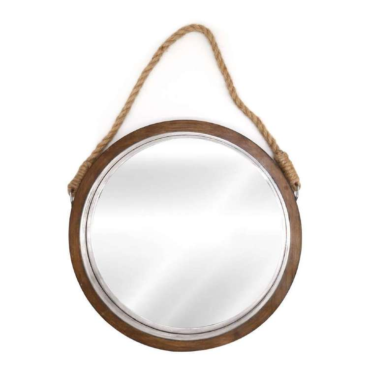 Living Space Wooden Round Mirror With Rope Natural 41 cm