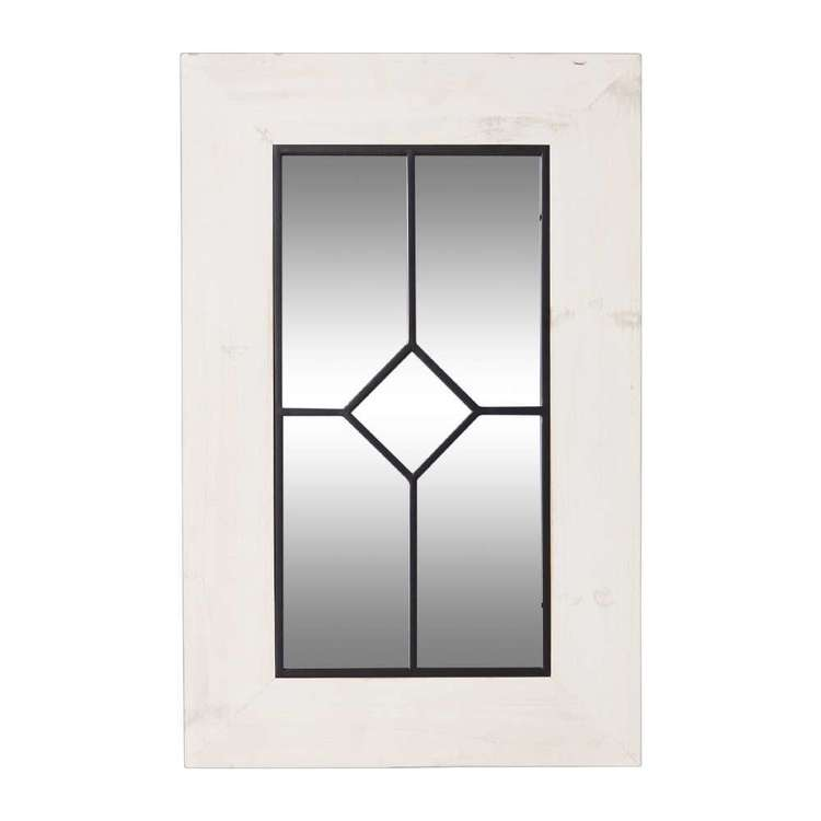 Living Space Window Style Mirror With Wood Frame