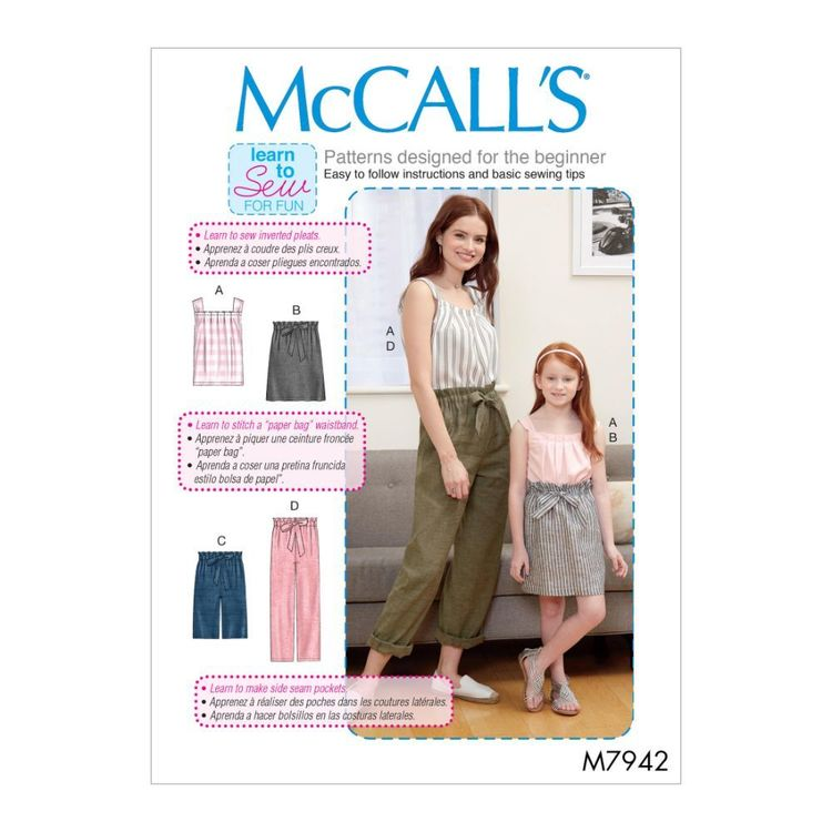 McCall's Pattern M7942 Learn To Sew For Fun Misses', Children's and Girls' Top, Skirt, Shorts and Pants