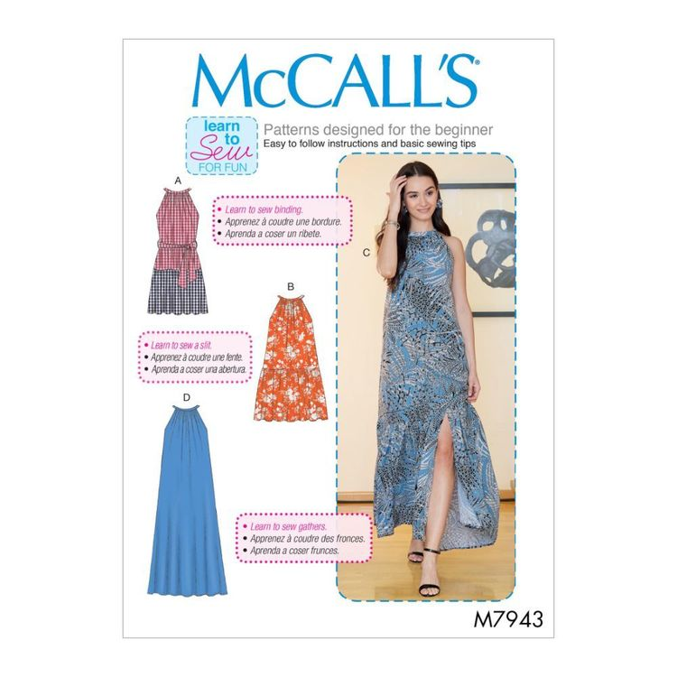 McCall's Pattern M7943 Learn To Sew For Fun Misses' Dresses