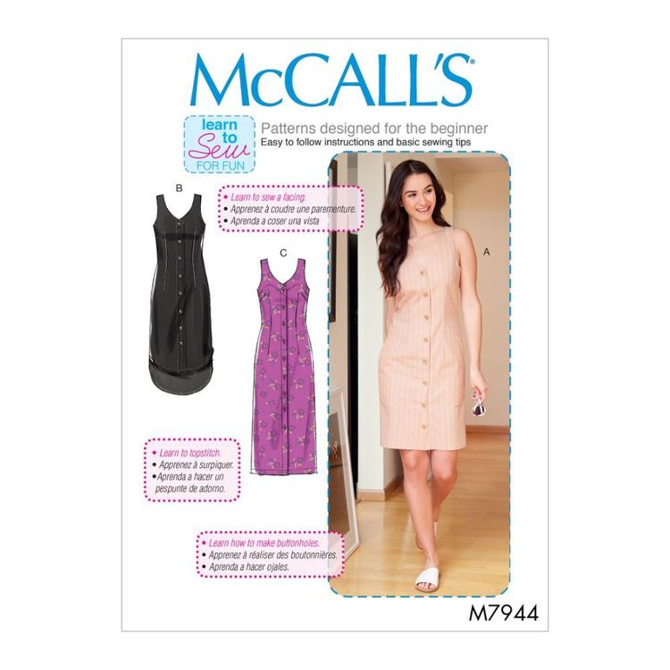 McCall's Pattern M7944 Learn To Sew For Fun Misses'/Women's Dresses