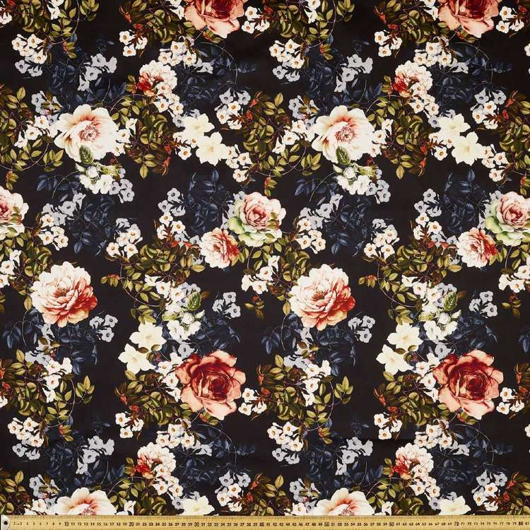 Full Bloom Digital Printed Cotton Sateen Fabric