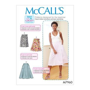 McCall's Pattern M7960 Learn To Sew For Fun Misses' Skirts