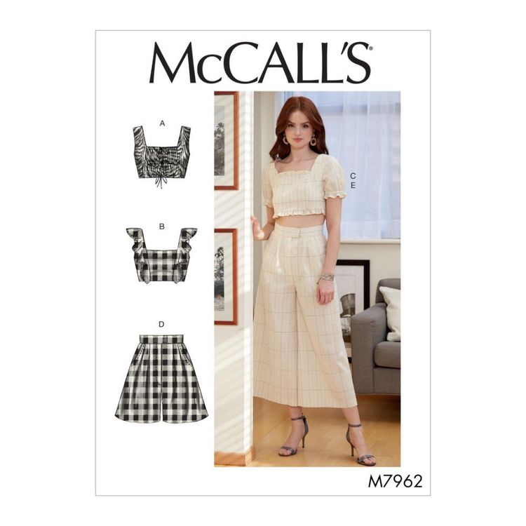McCall's Pattern M7962 Misses' Tops, Shorts and Pants
