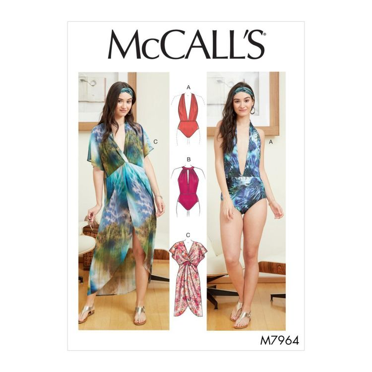 McCall's Pattern M7964 Misses' Swimsuit and Cover-Up