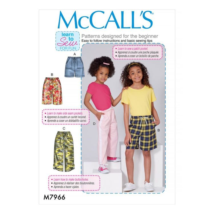 McCall's Pattern M7966 Learn To Sew For Fun Children's and Girls' Shorts and Pants