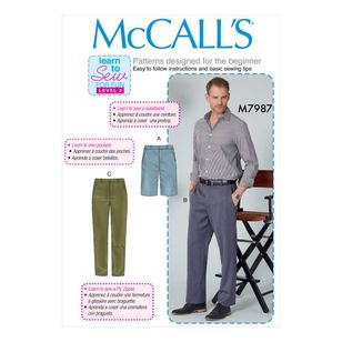 McCall's Pattern M7987 Learn To Sew For Fun Men's Shorts and Pants