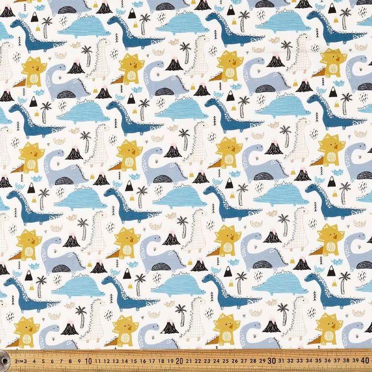Dino Volcano Printed 148 cm Cotton Spandex Fabric