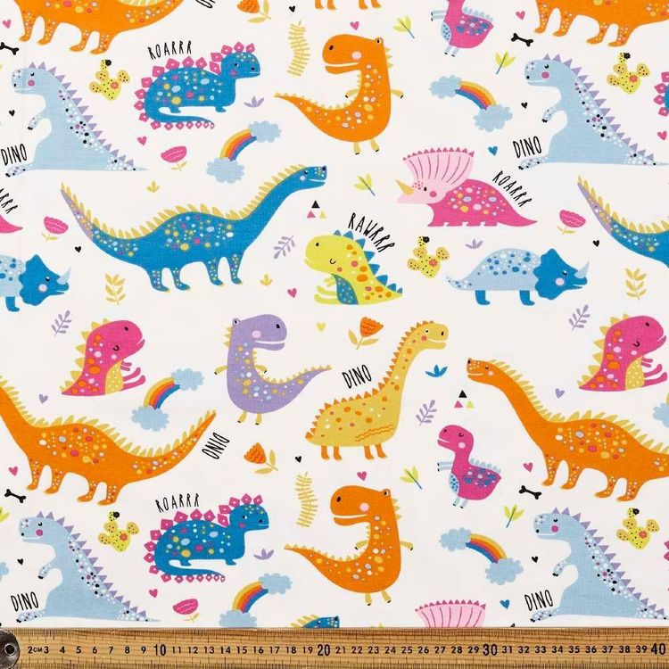 Bright Dinos Printed 148 cm Cotton Spandex Fabric