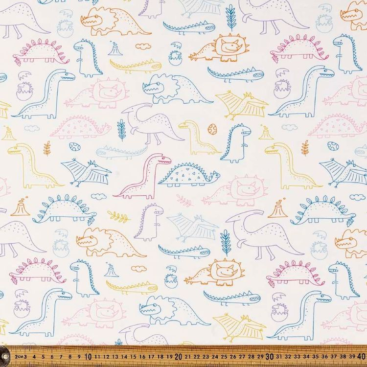 Rainbow Dino Printed 148 cm Cotton Spandex Fabric