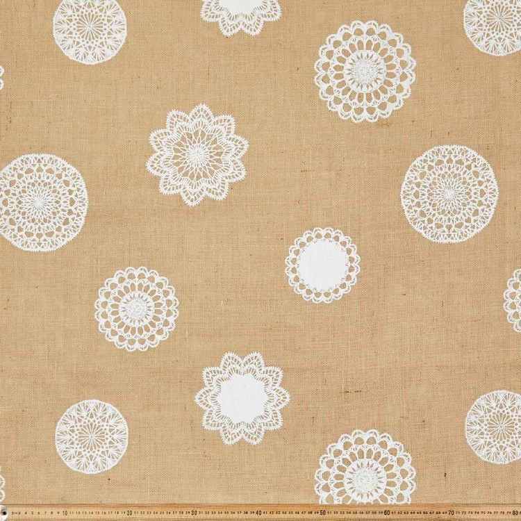 Doily Printed Hessian Fabric