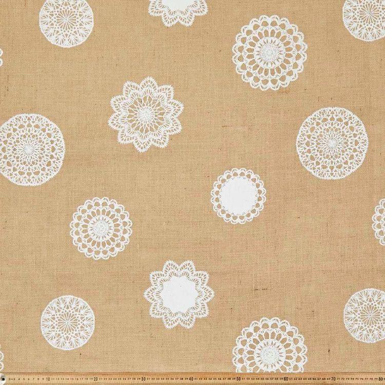 Doily Printed Hessian Fabric