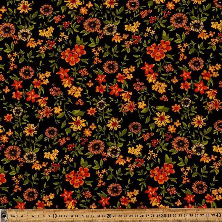 Retro Floral Printed 148 cm Rayon Knit Fabric