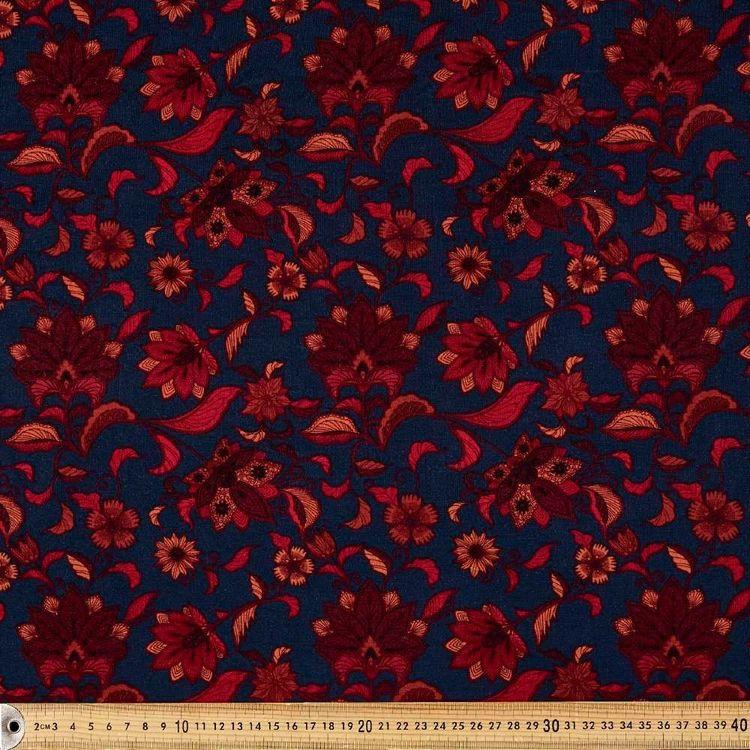 Dark Paisley Printed 148 cm Rayon Knit Fabric