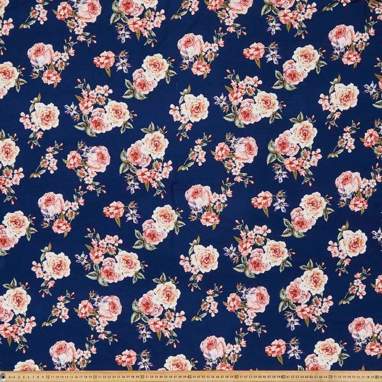 Cabbage Roses Printed 148 cm Rayon Knit Fabric