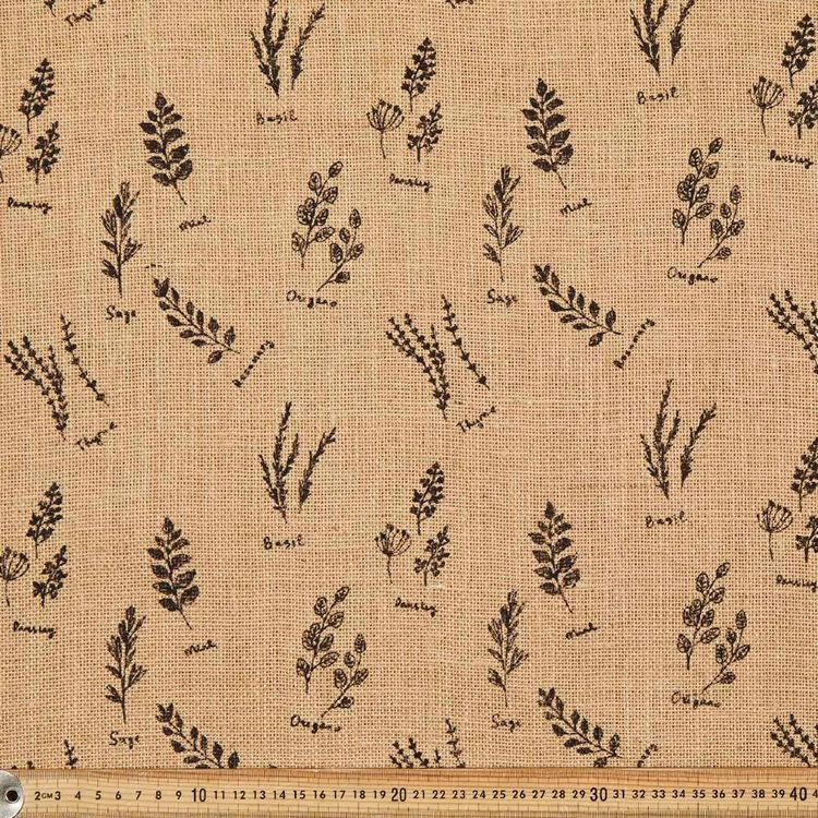 Herb Printed Hessian Fabric