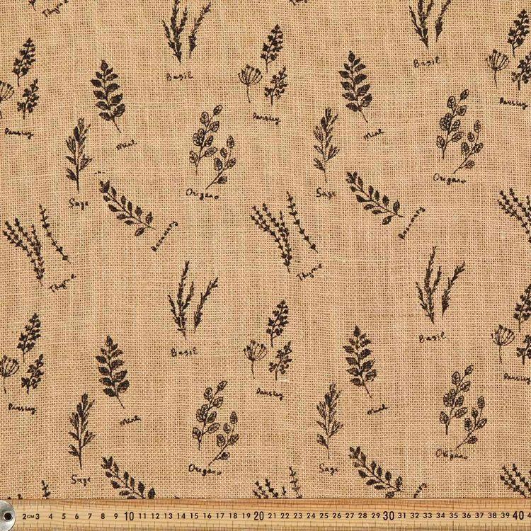 Herb Printed Hessian Fabric